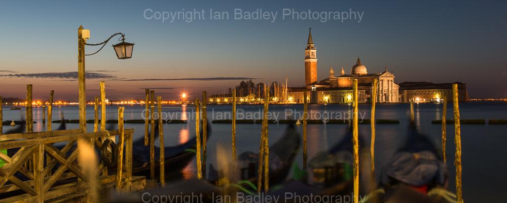 195 - Dawn twilight over gondola and Saint Georgio, Venice, Italy-2