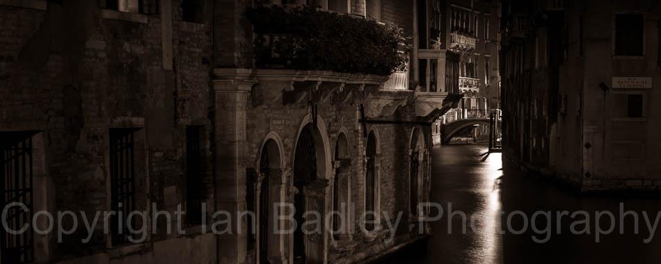 Venice canal at night, Italy