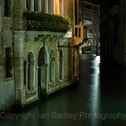 Venice canal at night, Italy