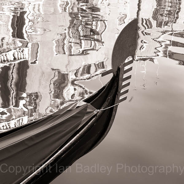 Gondola and relections, Venice, Italy