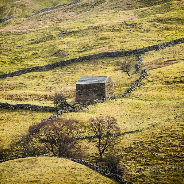 Stone barn and walls inYorkshire, England