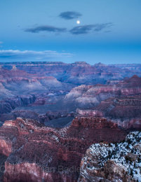 Moon rise over the Grand Canyon National Park, Arizona, USA