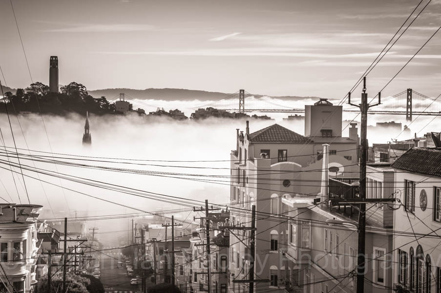 Mist on the sea and harbour from a San Franciso city hill street, California, USA