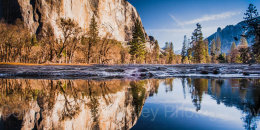 Dawn reflections in Merced River, Yosemite National Park, California, USA