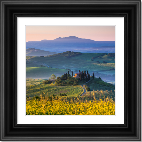 Spring dawn over Tuscan hills