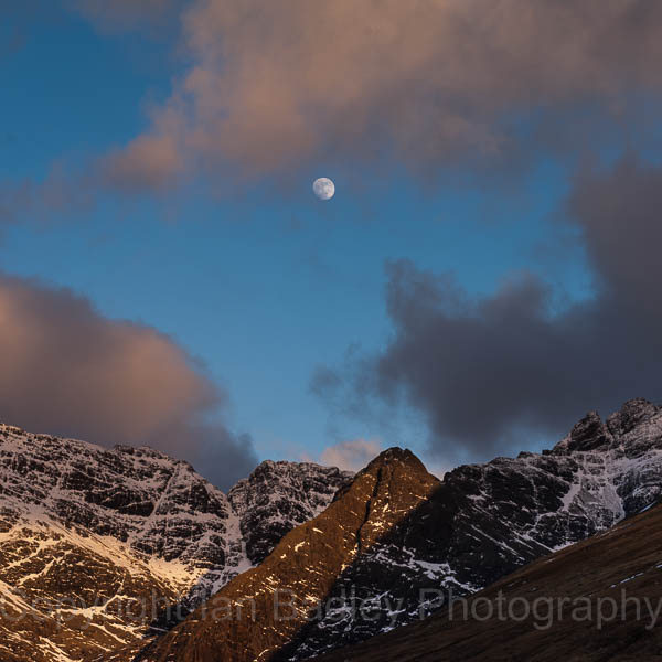Moon and clouds over the Cuillin Mountains,  Isle of Skye, Scotland
