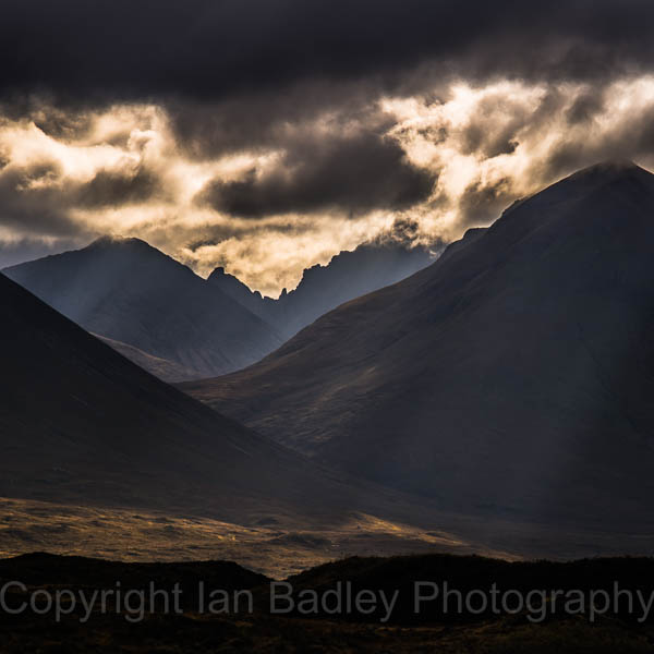 Sunshafts through the Cuillin mountains, Isle of Skye, Scotland