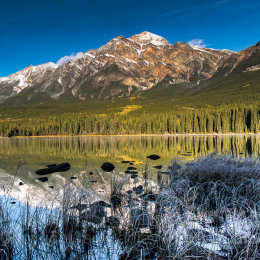 Frosty dawn on Pyramid Lake, Jasper National Park, Canada