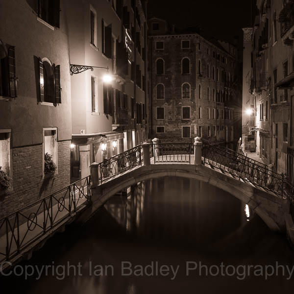 Venice calan and bridge at night, Italy