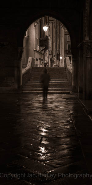 Stranger in Venice at night, Italy