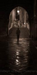 Stranger in Venice at night, Italy