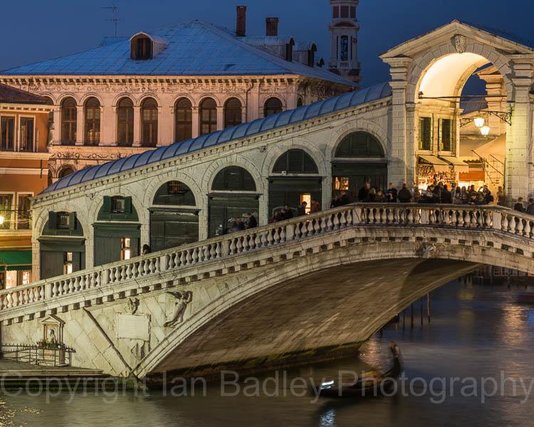 Italy, Venice, Rialto Bridge at night