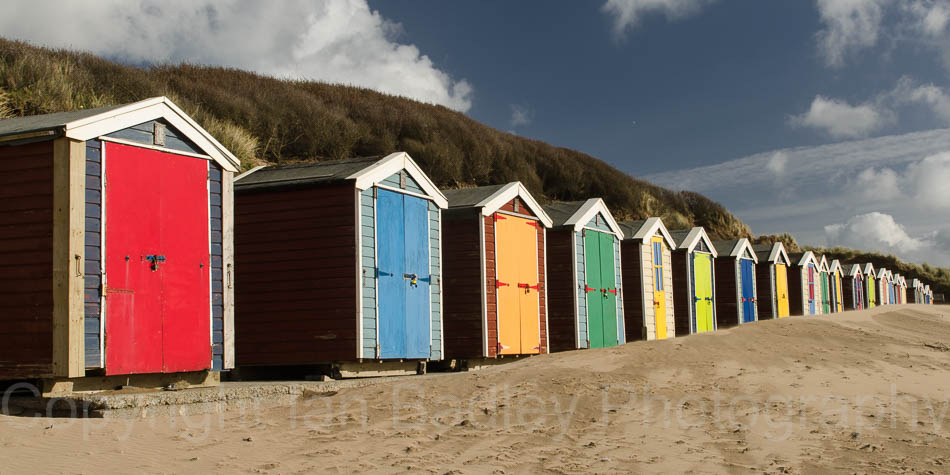 Colourful Beach Huts, Saunton Sands, Devon, England