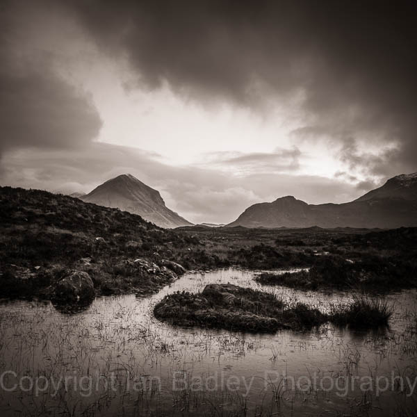 Lochen and Marsco moountain in a rain cloud, Isle of Skye, Scotland