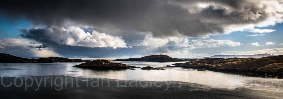 Scotland, Isle of Harris, Storm clouds over the Hebrides