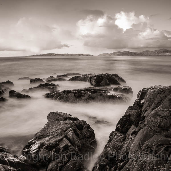 Ethereal sea and rocks on the Isle of Harris, Scotland