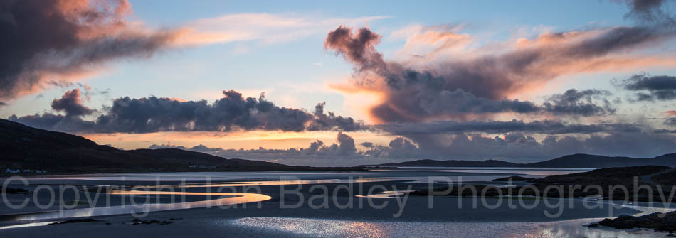Passing shower clouds at low tide on the Isle of Harris, Scotland