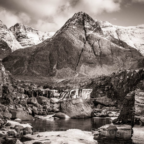 Fairy Pool and Cuillin Mountains,  Isle of Skye, Scotland