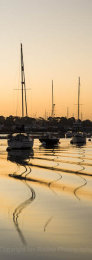 Moored sailing yachts at dawn on the River Hamble, Hampshire, England
