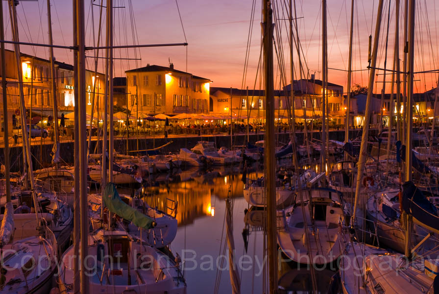 Dusk over the yacht basin of St Martin, Il de Re, France