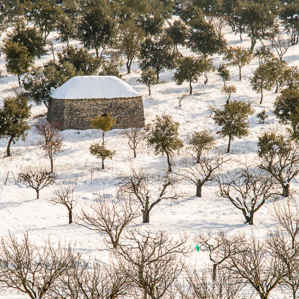 A snow covered 'cabane' in the Luberon, France
