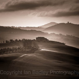 View over UNESCO Val D'orcia with cypress trees, Tuscany, Italy