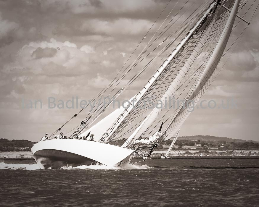 Classic sailing boat well heeled