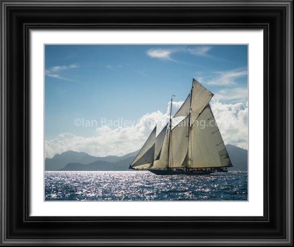 Classic yacht Elena sailing off the Cote d'Azur