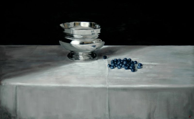 Silver Bowl & Blueberries