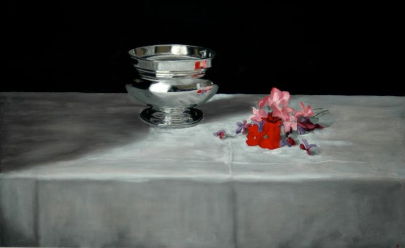 Silver Bowl & Sweetpeas