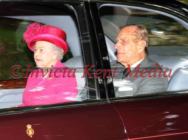 PICS SHOWS;BALMORAL .the queen and the duke leave Crathie church on sunday 26th august