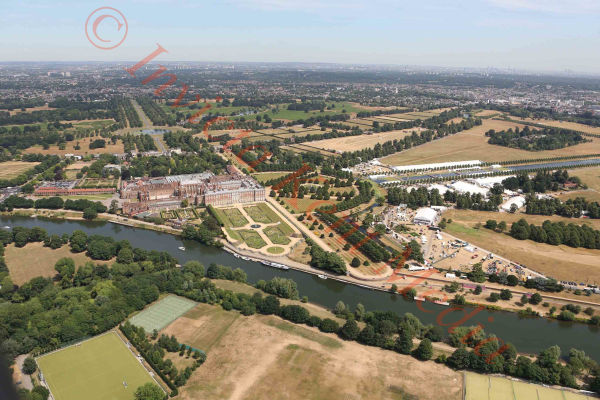 PIC SHOWS:- Aerial pics of Hampton Court and golf course. UK