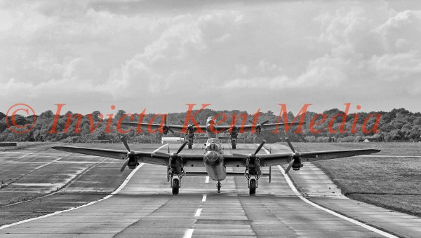 PIC SHOWS:- The only 2 airworthy Avro Lancasters on the Biggin Hill runway