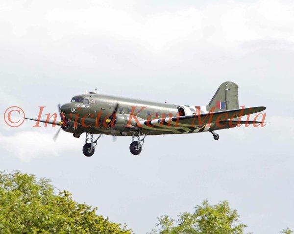 Douglas C47 Dakota FZ692 'Kwicherbichen' from the Battle of Britain Memorial Flight, seen over Biggin Hill, Kent