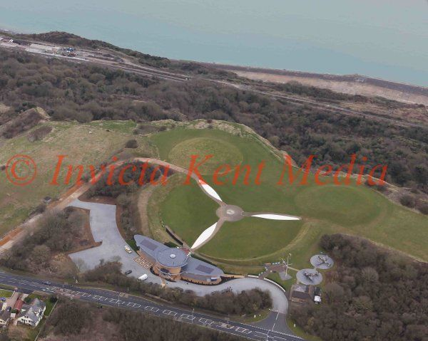 PICS SHOWSAerial Pictures of the New Battle of Britain Memorial at Capel Le Ferne,When  the Queen Will open the New Visitor Centre Which is shaped like the Wing of a Spitfire  on Thursday 24/3/15