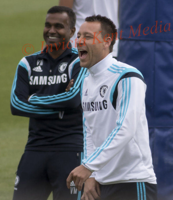 PICS SHOWS  Eden Hazard and John Terry In Good humour at the Chelsea Squad Training Today at Chelsea Cobham Training Ground Surrey