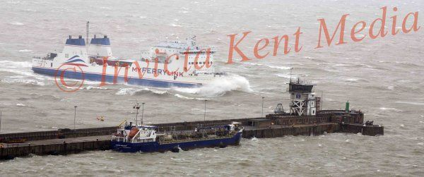 PICS SHOWS ; The Nord Pas De Calais Ferry from  The Ferry link  Company arrives in Bad Weather at Dover Today after Crossing from Calais in France .