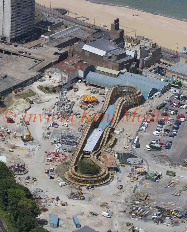 PICS SHOWS ; Dreamland In Margate Kent the old Theme Park Is nearly Finished in Time to Open For The Summer Tourist Season . The Scenic Railway Is built Mainly From Wood as per The old Construction.