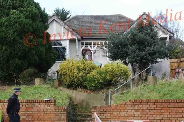 PICS SHOWS;Sian Blake,s House in Erith Kent where the rear Garden is being Dug Up By Police Forensic Officers She has been Missing since Dec 13th 2015.