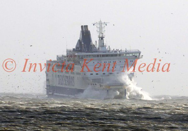 PICS SHOWS;Rough Weather at Dover Ferry Port Today .Ferries coming in and out .