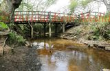 PICS SHOWS .Water Running under Pooh Sticks Bridge in Hatfield in East Sussex .