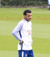 PIC SHOWS:Chelsea training ground today Pedro showing his Black Eye.