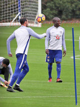 PIC SHOWS:  Chelsea midfielder Kante back in training at The Chelsea training Ground at Cobham Surrey.
