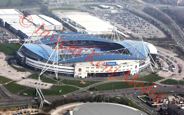 Aerial view of the Reebok Stadium, home of Bolton Wanderers FC