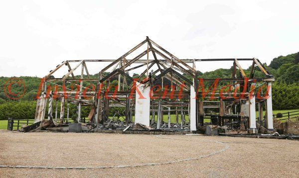 PIC SHOWS:The Burnt out  House  of Ex Gillingham Footballer Danny Spiller  from Kits Coty in Kent