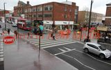 PIC SHOWS; zebra crossing in Eltham, London, that has been painted in the opposite direction to the traditional way.