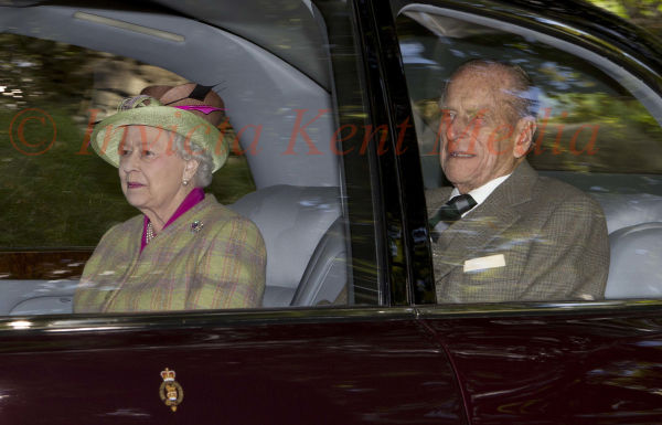 PICS SHOWS;Royals at Balmorals  Crathie Church  Today  The Queen and the Duke Of Edinboro at Crathie Church Today