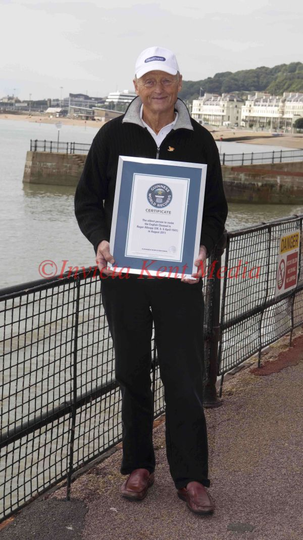 PICS SHOW; ROGER ALLSOPP THE OLDEST CHANNEL SWIMMER OF ALL TIME AT DOVER TODAY AFTER HIS CHANNEL SWIM OF 17HOURS 51 MINS