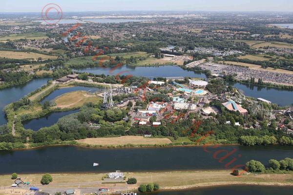 PIC SHOWS:- aerial views of Thorpe Park amusement park.