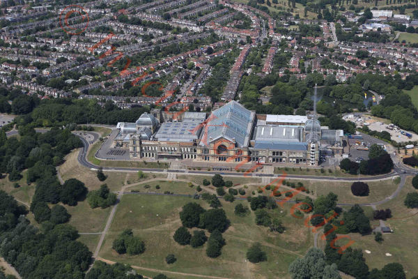 PIC SHOWS:- aerial views of Alexandra Palace, London